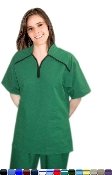 M Style Collar 4 Pocket Women's Scrub Set With Boot Cut Pants.