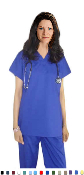 Basic Medical Scrubs - Solid Scrub Top 1 Pocket V Neck.