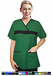 Women's Scrub Set 5 Pocket Fashion Contrast With Matching Pants.