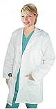 Women's Solid Pleated Twill Lab Coat.